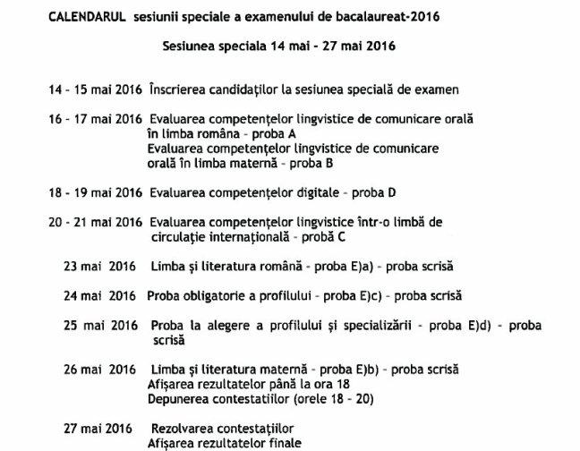 calendar sesiune speciala-bac-2016